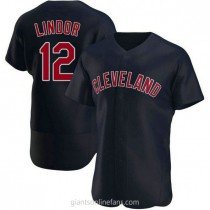 Mens Francisco Lindor Cleveland Indians #12 Authentic Navy Alternate A592 Jersey