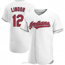 Mens Francisco Lindor Cleveland Indians #12 Authentic White Home A592 Jersey