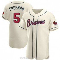 Mens Freddie Freeman Atlanta Braves #5 Authentic Cream Alternate A592 Jerseys