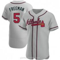 Mens Freddie Freeman Atlanta Braves #5 Authentic Gray Road A592 Jersey