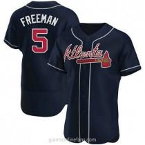 Mens Freddie Freeman Atlanta Braves #5 Authentic Navy Alternate A592 Jerseys