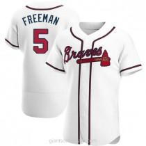 Mens Freddie Freeman Atlanta Braves #5 Authentic White Home A592 Jersey