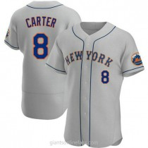 Mens Gary Carter New York Mets #8 Authentic Gray Road A592 Jersey