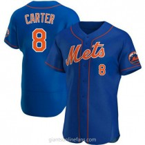 Mens Gary Carter New York Mets #8 Authentic Royal Alternate A592 Jersey
