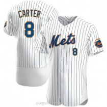 Mens Gary Carter New York Mets #8 Authentic White Home A592 Jersey