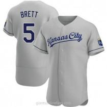 Mens George Brett Kansas City Royals #5 Authentic Gray Road A592 Jersey