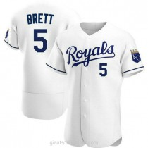 Mens George Brett Kansas City Royals #5 Authentic White Home A592 Jersey