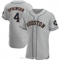Mens George Springer Houston Astros #4 Authentic Gray Road A592 Jersey