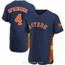 Mens George Springer Houston Astros #4 Authentic Navy Alternate A592 Jersey