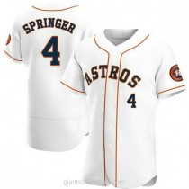 Mens George Springer Houston Astros #4 Authentic White Home A592 Jerseys