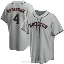 Mens George Springer Houston Astros #4 Replica Gray Road A592 Jersey