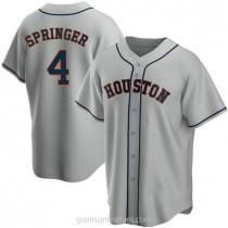 Mens George Springer Houston Astros #4 Replica Gray Road A592 Jerseys
