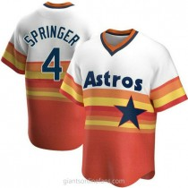 Mens George Springer Houston Astros #4 Replica White Home Cooperstown Collection A592 Jersey