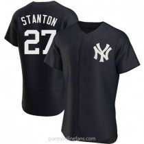 Mens Giancarlo Stanton New York Yankees #27 Authentic Navy Alternate A592 Jerseys