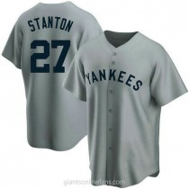 Mens Giancarlo Stanton New York Yankees #27 Replica Gray Road Cooperstown Collection A592 Jersey