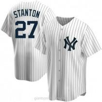 Mens Giancarlo Stanton New York Yankees Replica White Home A592 Jersey