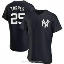 Mens Gleyber Torres New York Yankees #25 Authentic Navy Alternate A592 Jerseys