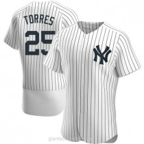 Mens Gleyber Torres New York Yankees #25 Authentic White Home A592 Jerseys