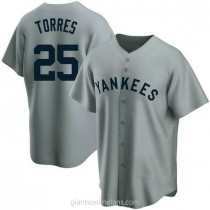 Mens Gleyber Torres New York Yankees #25 Replica Gray Road Cooperstown Collection A592 Jerseys