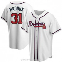 Mens Greg Maddux Atlanta Braves #31 Replica White Home A592 Jersey