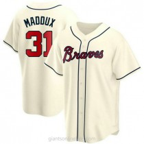 Mens Greg Maddux Atlanta Braves Replica Cream Alternate A592 Jersey