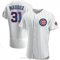 Mens Greg Maddux Chicago Cubs #31 Authentic White Home A592 Jersey