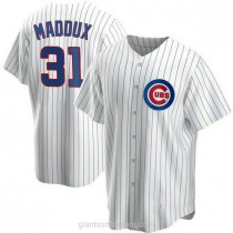 Mens Greg Maddux Chicago Cubs Replica White Home A592 Jersey