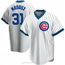 Mens Greg Maddux Chicago Cubs Replica White Home Cooperstown Collection A592 Jersey