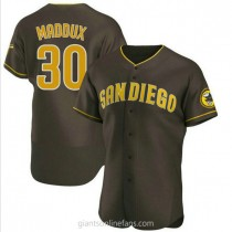 Mens Greg Maddux San Diego Padres #30 Authentic Brown Road A592 Jersey