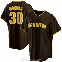 Mens Greg Maddux San Diego Padres #30 Replica Brown Road A592 Jersey
