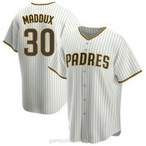 Mens Greg Maddux San Diego Padres #30 Replica White Brown Home A592 Jerseys