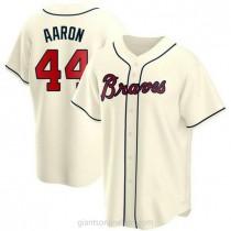 Mens Hank Aaron Atlanta Braves #44 Replica Cream Alternate A592 Jersey
