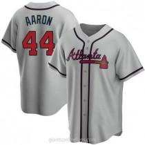 Mens Hank Aaron Atlanta Braves #44 Replica Gray Road A592 Jerseys