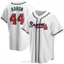 Mens Hank Aaron Atlanta Braves #44 Replica White Home A592 Jersey