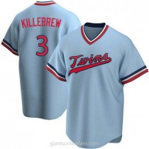 Mens Harmon Killebrew Minnesota Twins #3 Replica Light Blue Road Cooperstown Collection A592 Jersey