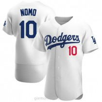 Mens Hideo Nomo Los Angeles Dodgers #10 Authentic White Home Official A592 Jersey