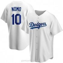 Mens Hideo Nomo Los Angeles Dodgers #10 Replica White Home A592 Jersey