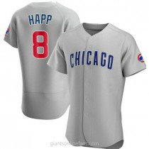 Mens Ian Happ Chicago Cubs #8 Authentic Gray Road A592 Jersey