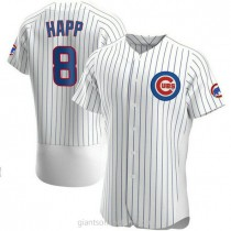 Mens Ian Happ Chicago Cubs #8 Authentic White Home A592 Jersey