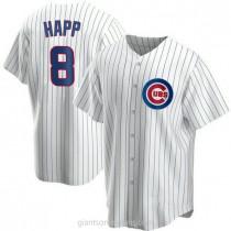 Mens Ian Happ Chicago Cubs #8 Replica White Home A592 Jerseys