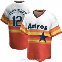 Mens Ivan Rodriguez Houston Astros #12 Replica White Home Cooperstown Collection A592 Jersey