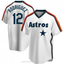 Mens Ivan Rodriguez Houston Astros #12 Replica White Home Cooperstown Collection Team A592 Jersey