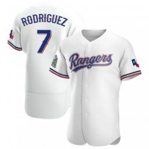 Mens Ivan Rodriguez Texas Rangers #7 Authentic White Home A592 Jerseys