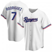 Mens Ivan Rodriguez Texas Rangers #7 Replica White Home A592 Jersey