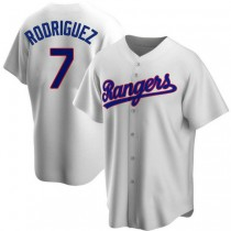 Mens Ivan Rodriguez Texas Rangers #7 Replica White Home Cooperstown Collection A592 Jerseys