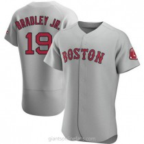 Mens Jackie Bradley Jr Boston Red Sox #19 Authentic Gray Road A592 Jersey