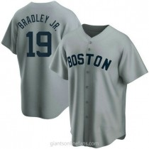 Mens Jackie Bradley Jr Boston Red Sox #19 Replica Gray Road Cooperstown Collection A592 Jersey