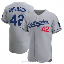 Mens Jackie Robinson Los Angeles Dodgers #42 Authentic Gray Away Official A592 Jerseys