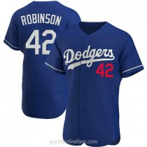 Mens Jackie Robinson Los Angeles Dodgers #42 Authentic Royal Alternate A592 Jerseys