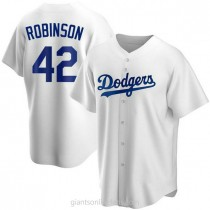 Mens Jackie Robinson Los Angeles Dodgers #42 Replica White Home A592 Jersey